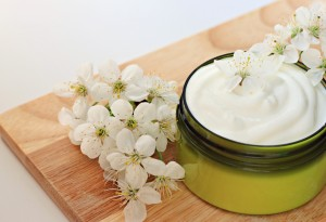 jar of herbal moisturizing skin cream flowers organic
